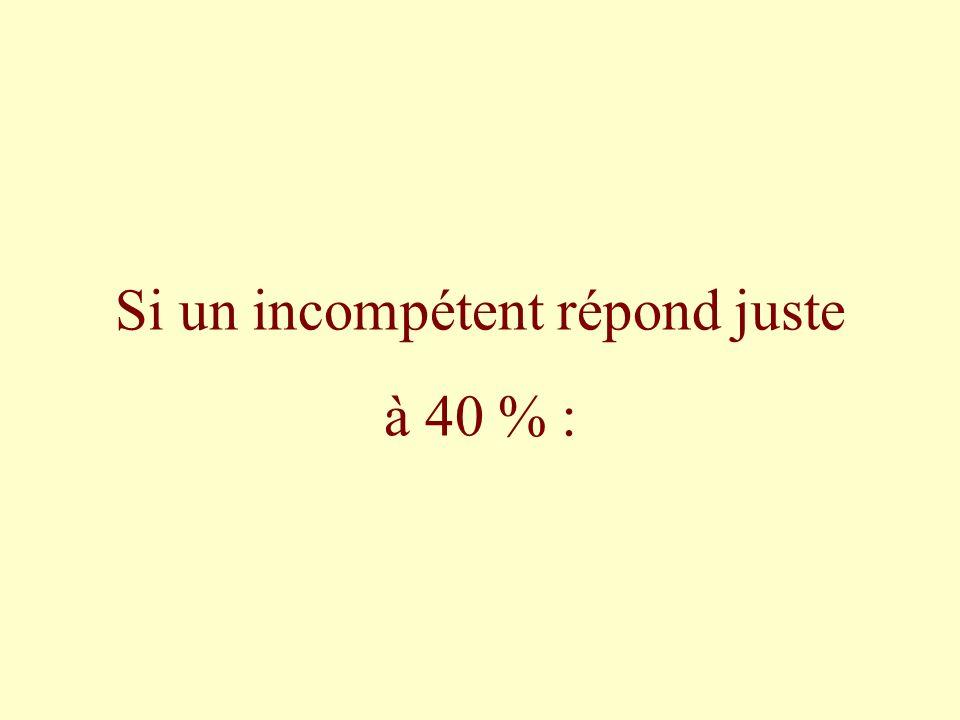 Si un incompétent répond juste à 40 % :
