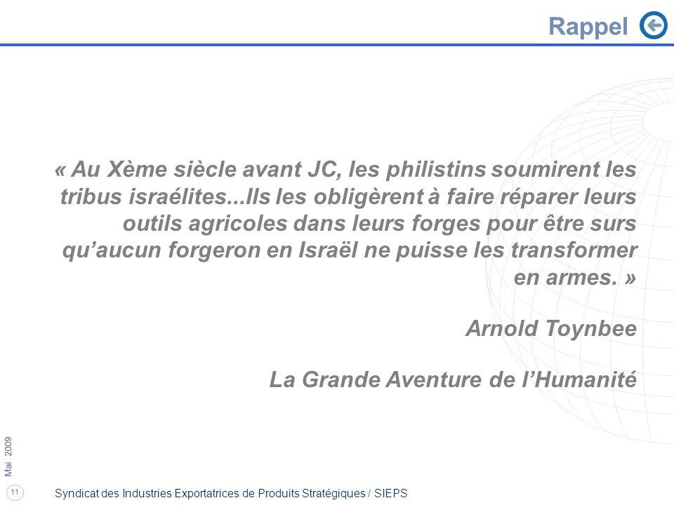 11 Mai 2009 Syndicat des Industries Exportatrices de Produits Stratégiques / SIEPS « Au Xème siècle avant JC, les philistins soumirent les tribus isra
