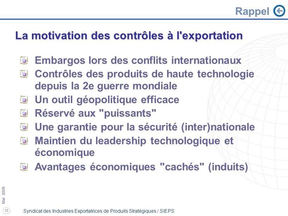 12 Mai 2009 Syndicat des Industries Exportatrices de Produits Stratégiques / SIEPS Embargos lors des conflits internationaux Contrôles des produits de