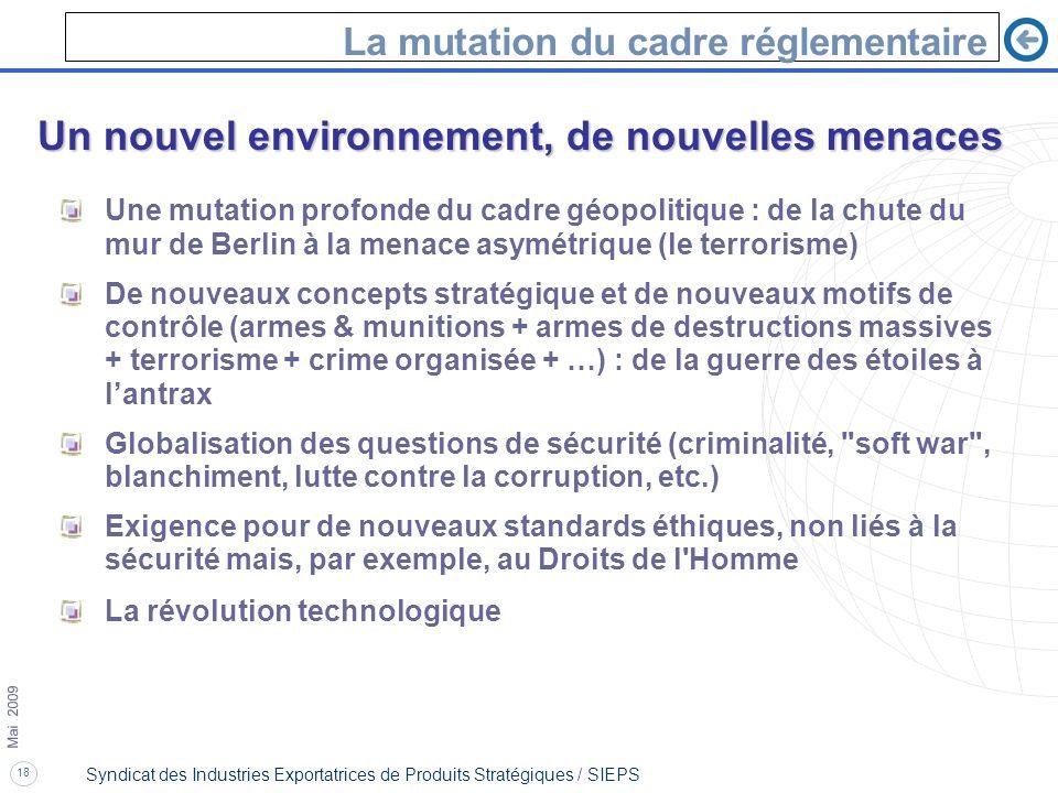 18 Mai 2009 Syndicat des Industries Exportatrices de Produits Stratégiques / SIEPS La mutation du cadre réglementaire Un nouvel environnement, de nouv