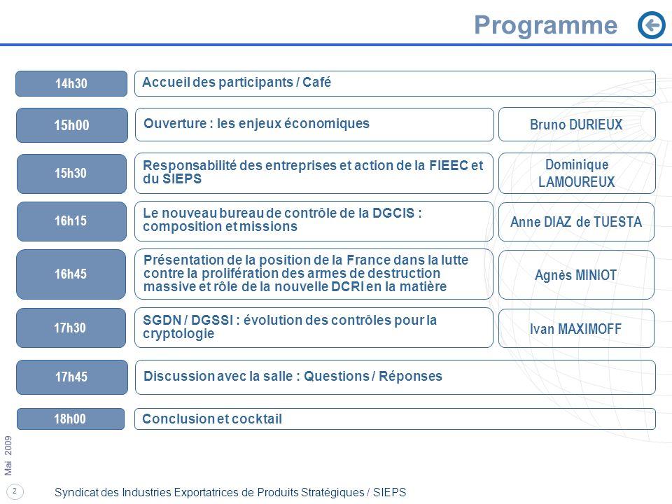 2 Mai 2009 Syndicat des Industries Exportatrices de Produits Stratégiques / SIEPS Programme 14h30 Accueil des participants / Café Bruno DURIEUX Domini