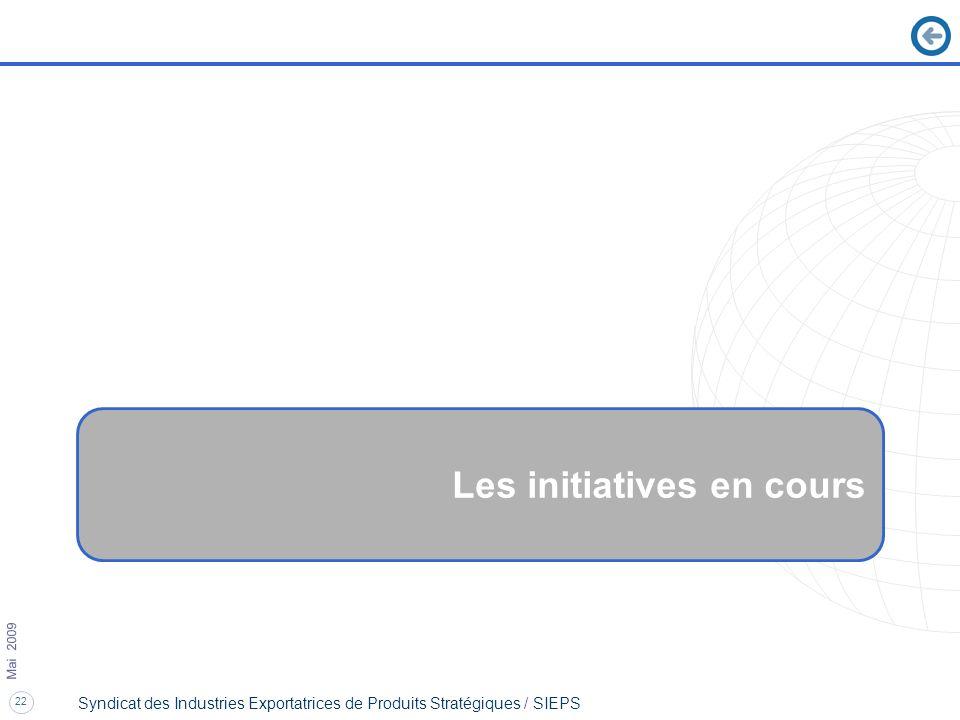 22 Mai 2009 Syndicat des Industries Exportatrices de Produits Stratégiques / SIEPS Les initiatives en cours