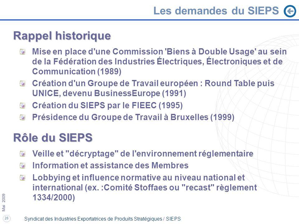 26 Mai 2009 Syndicat des Industries Exportatrices de Produits Stratégiques / SIEPS Rappel historique Mise en place d'une Commission 'Biens à Double Us