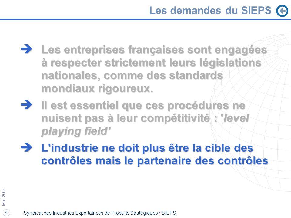 28 Mai 2009 Syndicat des Industries Exportatrices de Produits Stratégiques / SIEPS è Les entreprises françaises sont engagées à respecter strictement