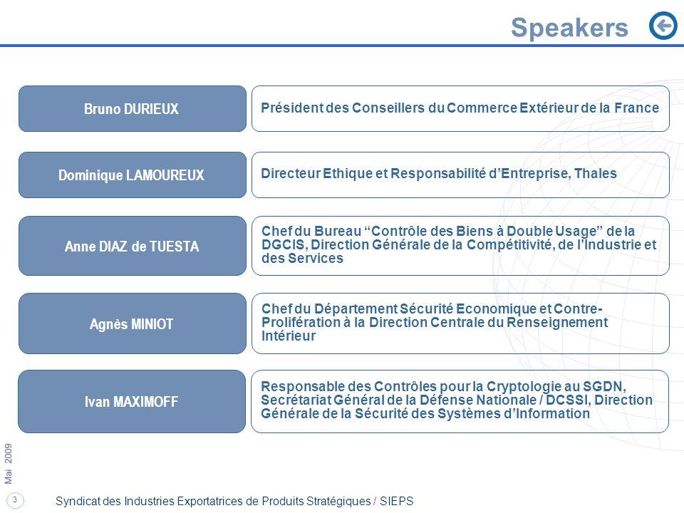 3 Mai 2009 Syndicat des Industries Exportatrices de Produits Stratégiques / SIEPS Speakers Ivan MAXIMOFF Responsable des Contrôles pour la Cryptologie