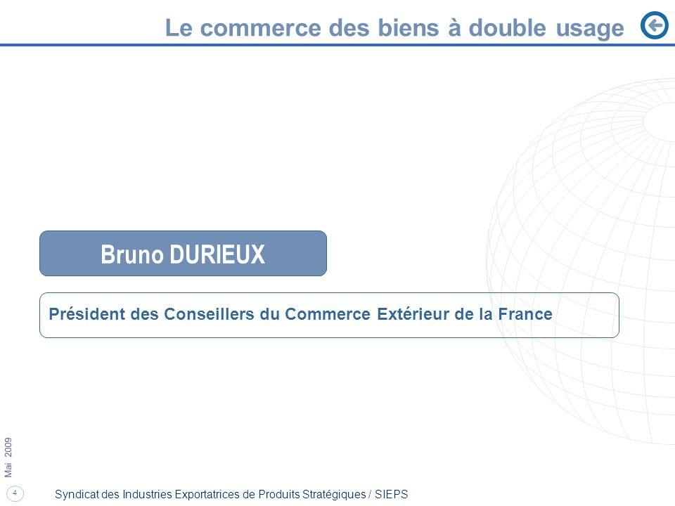 4 Mai 2009 Syndicat des Industries Exportatrices de Produits Stratégiques / SIEPS Le commerce des biens à double usage Bruno DURIEUX Président des Con