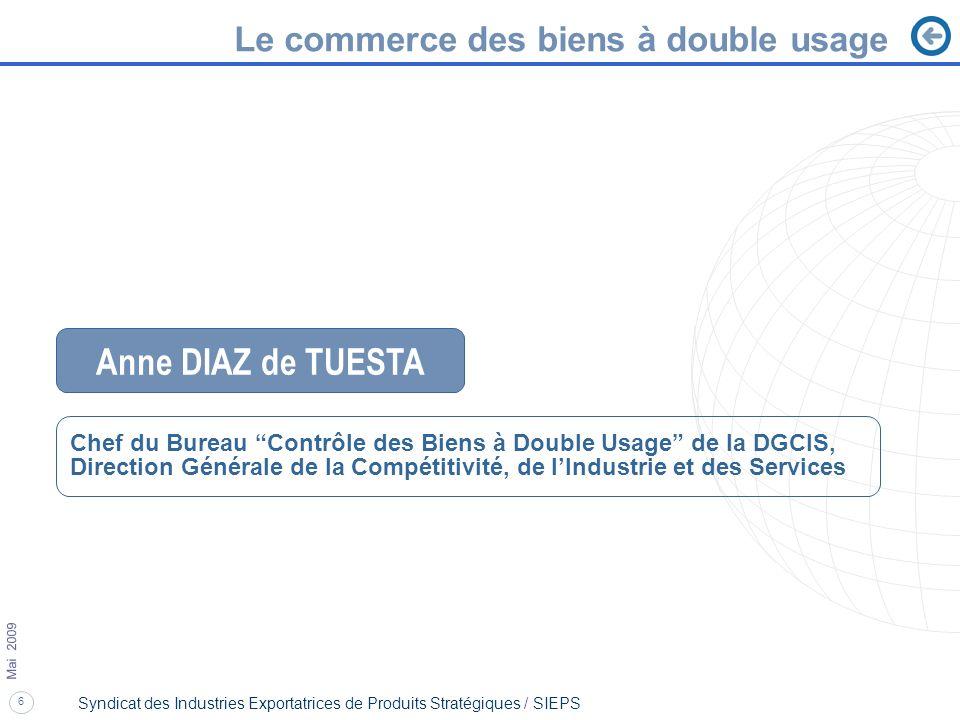 6 Mai 2009 Syndicat des Industries Exportatrices de Produits Stratégiques / SIEPS Le commerce des biens à double usage Anne DIAZ de TUESTA Chef du Bur