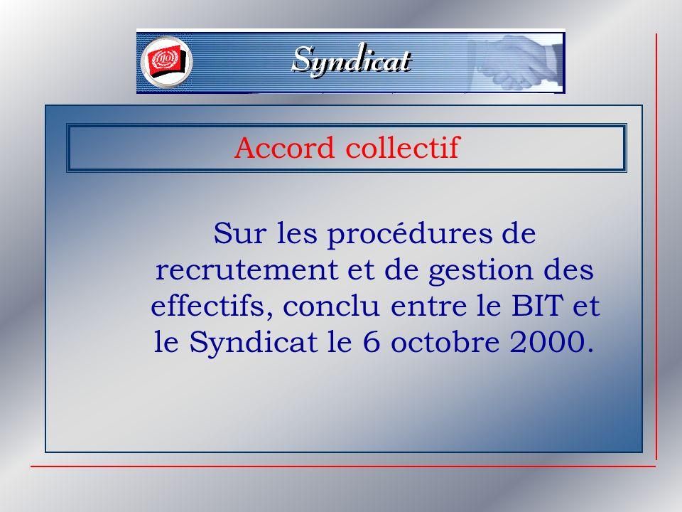 Accord collectif Sur les procédures de recrutement et de gestion des effectifs, conclu entre le BIT et le Syndicat le 6 octobre 2000.