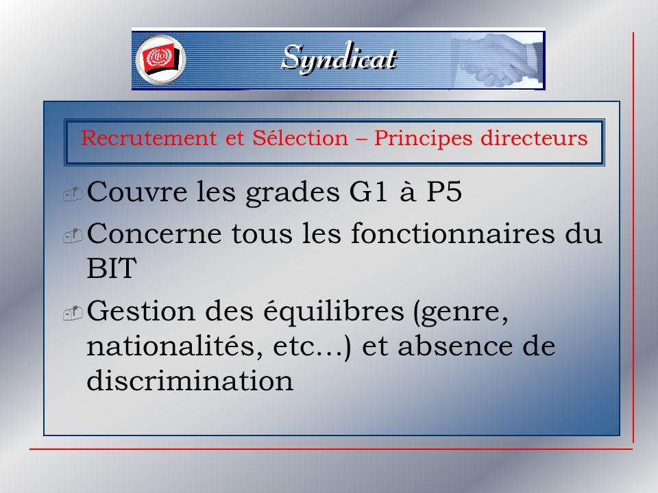 Recrutement et Sélection – Principes directeurs Couvre les grades G1 à P5 Concerne tous les fonctionnaires du BIT Gestion des équilibres (genre, nationalités, etc…) et absence de discrimination