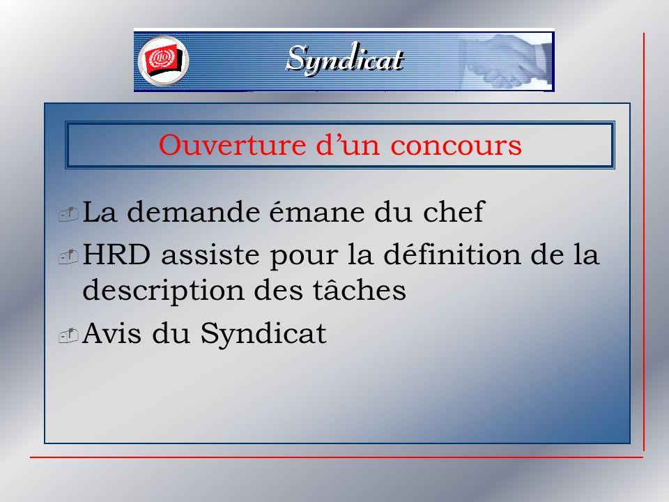 Ouverture dun concours La demande émane du chef HRD assiste pour la définition de la description des tâches Avis du Syndicat