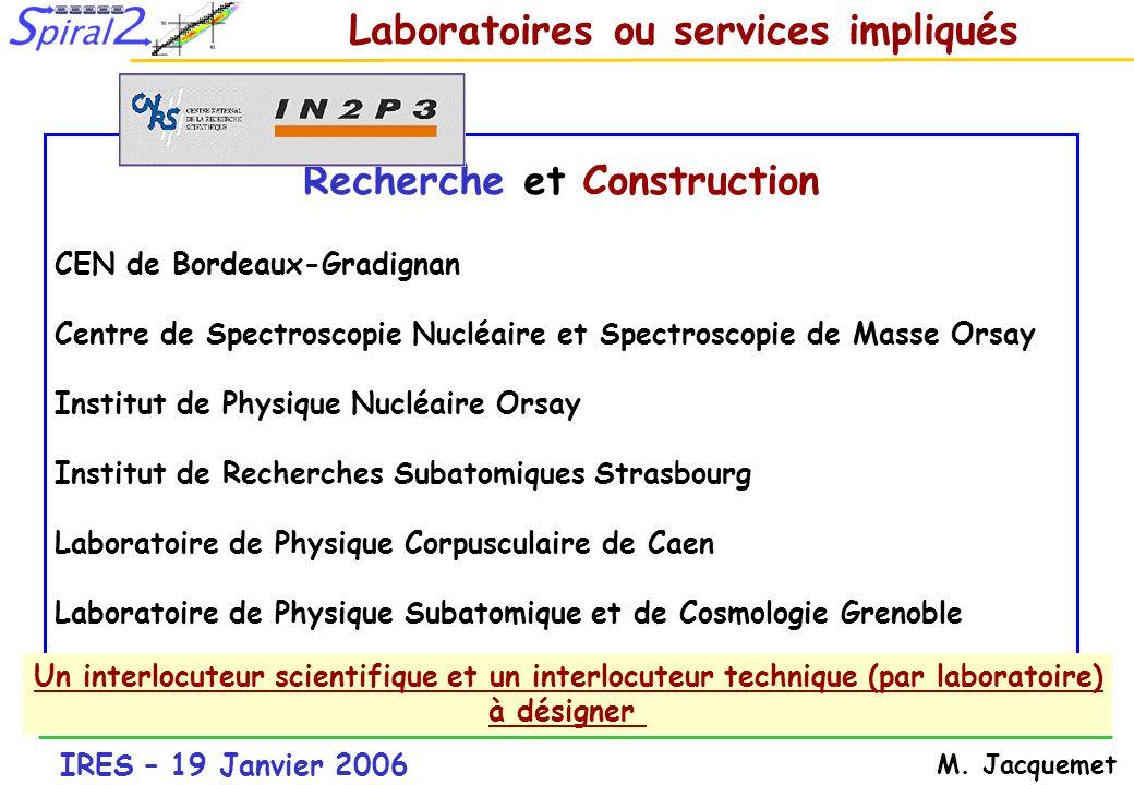 IRES – 19 Janvier 2006 M. Jacquemet Recherche et Construction CEN de Bordeaux-Gradignan Centre de Spectroscopie Nucléaire et Spectroscopie de Masse Or