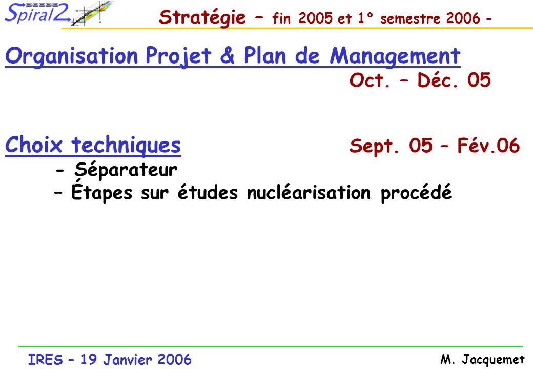 IRES – 19 Janvier 2006 M. Jacquemet Stratégie – fin 2005 et 1° semestre 2006 - Organisation Projet & Plan de Management Oct. – Déc. 05 Choix technique