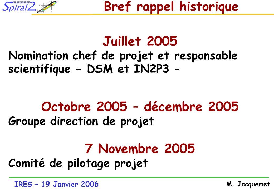 IRES – 19 Janvier 2006 M. Jacquemet Bref rappel historique Juillet 2005 Nomination chef de projet et responsable scientifique - DSM et IN2P3 - Octobre