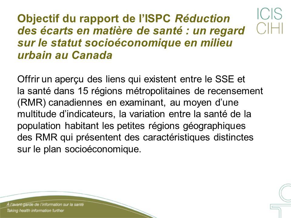 Objectif du rapport de lISPC Réduction des écarts en matière de santé : un regard sur le statut socioéconomique en milieu urbain au Canada Offrir un a