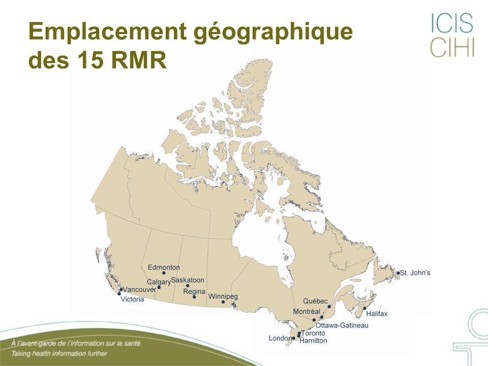 Emplacement géographique des 15 RMR