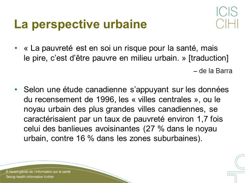 La perspective urbaine « La pauvreté est en soi un risque pour la santé, mais le pire, cest dêtre pauvre en milieu urbain. » [traduction] – de la Barr