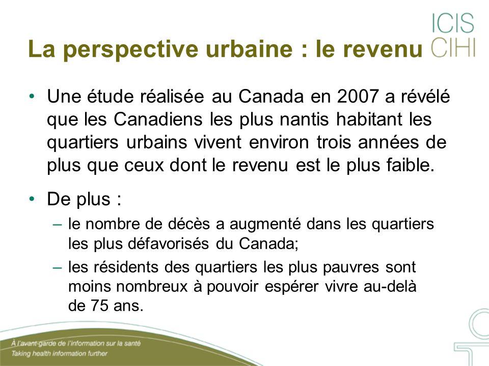 La perspective urbaine : le revenu Une étude réalisée au Canada en 2007 a révélé que les Canadiens les plus nantis habitant les quartiers urbains vivent environ trois années de plus que ceux dont le revenu est le plus faible.
