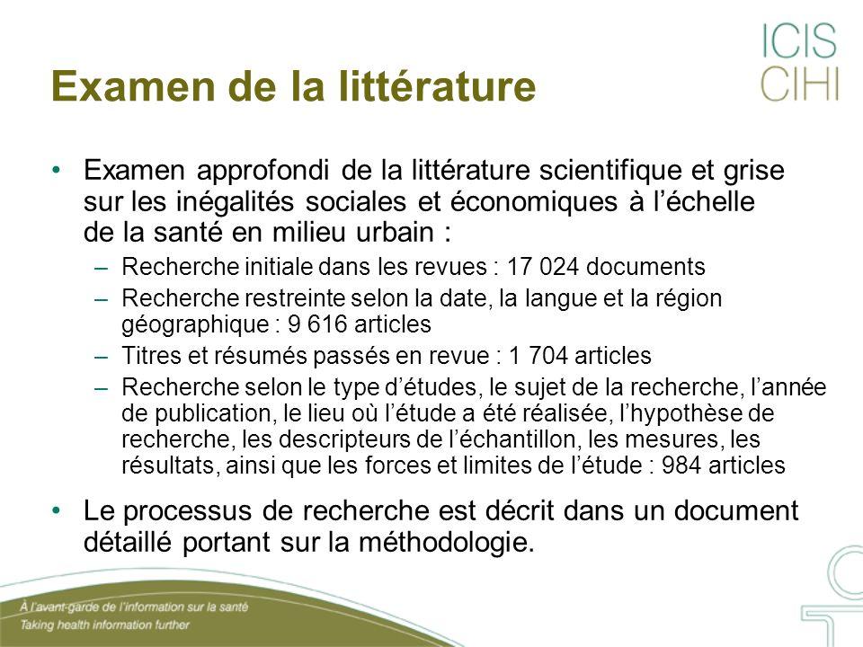 Examen de la littérature Examen approfondi de la littérature scientifique et grise sur les inégalités sociales et économiques à léchelle de la santé e