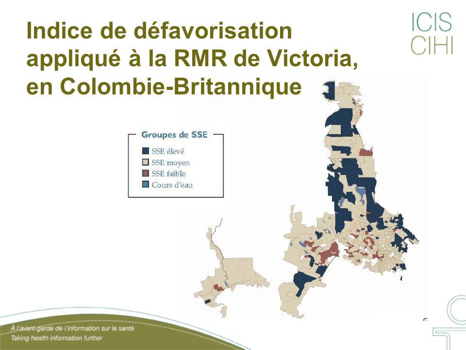Indice de défavorisation appliqué à la RMR de Victoria, en Colombie-Britannique