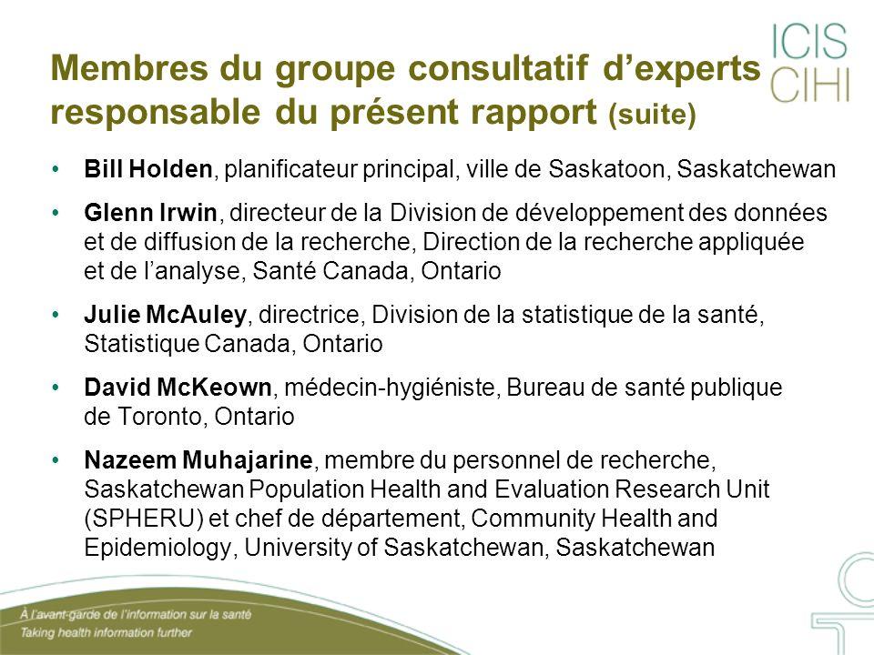 Membres du groupe consultatif dexperts responsable du présent rapport (suite) Bill Holden, planificateur principal, ville de Saskatoon, Saskatchewan G