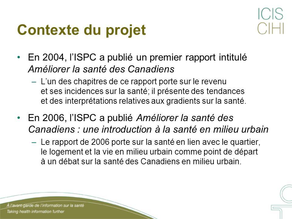 Contexte du projet En 2004, lISPC a publié un premier rapport intitulé Améliorer la santé des Canadiens –Lun des chapitres de ce rapport porte sur le