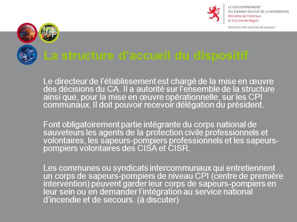 La structure daccueil du dispositif Le directeur de létablissement est chargé de la mise en œuvre des décisions du CA.