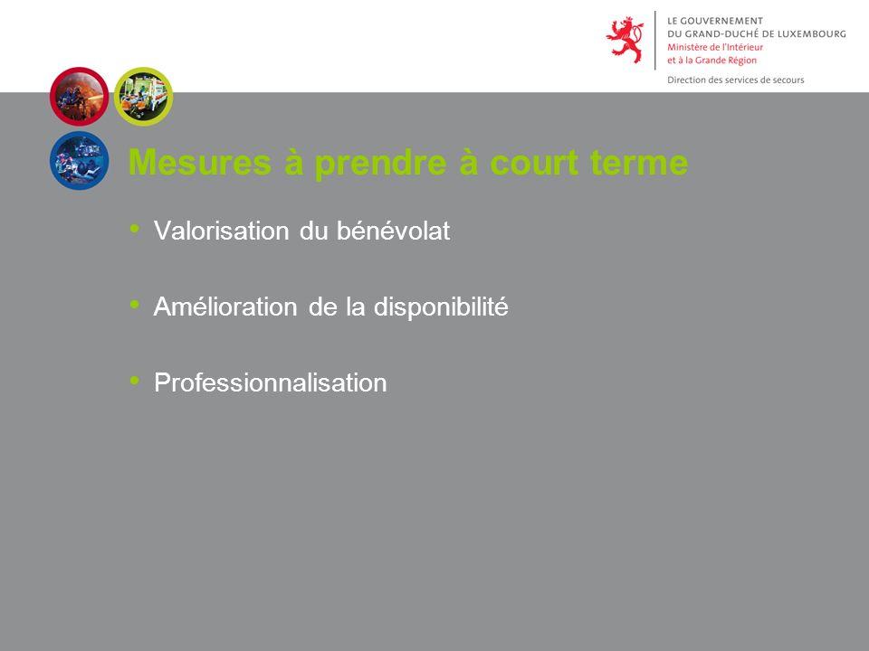 Mesures à prendre à court terme Valorisation du bénévolat Amélioration de la disponibilité Professionnalisation