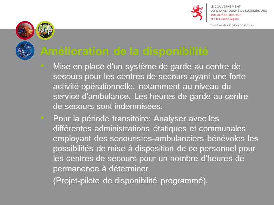 Amélioration de la disponibilité Mise en place dun système de garde au centre de secours pour les centres de secours ayant une forte activité opérationnelle, notamment au niveau du service dambulance.