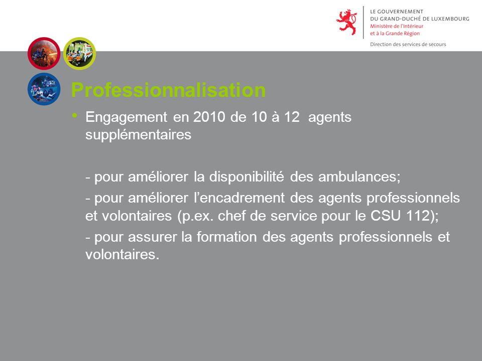 Professionnalisation Engagement en 2010 de 10 à 12 agents supplémentaires - pour améliorer la disponibilité des ambulances; - pour améliorer lencadrement des agents professionnels et volontaires (p.ex.