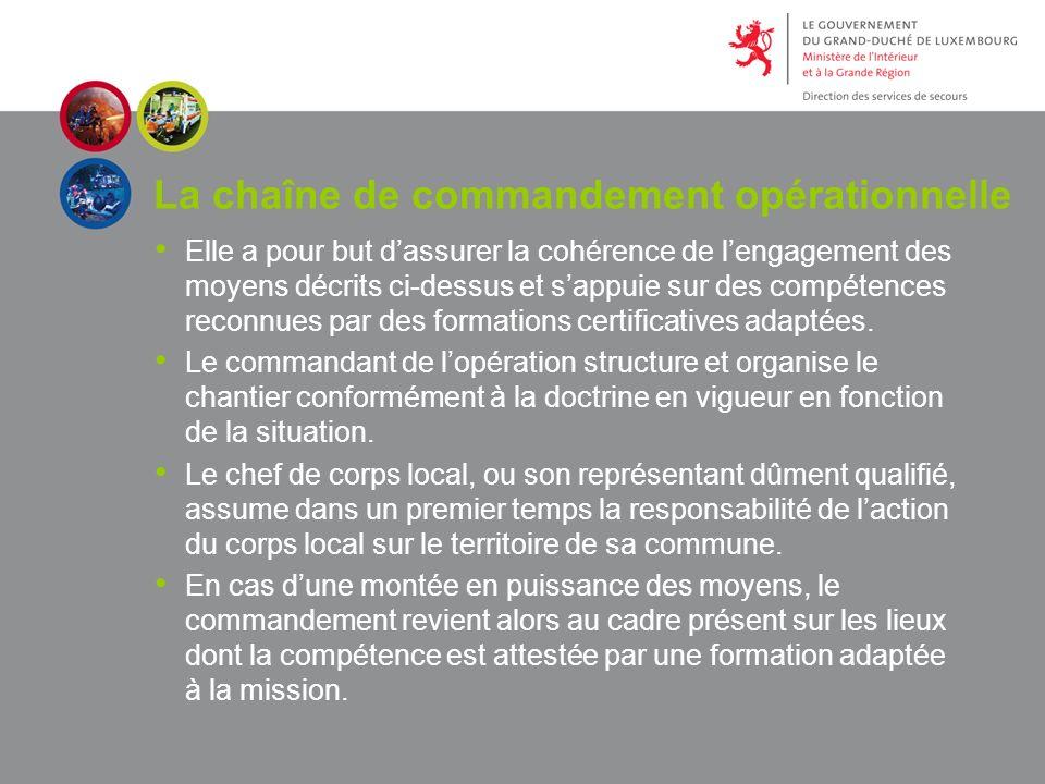 La chaîne de commandement opérationnelle Elle a pour but dassurer la cohérence de lengagement des moyens décrits ci-dessus et sappuie sur des compétences reconnues par des formations certificatives adaptées.