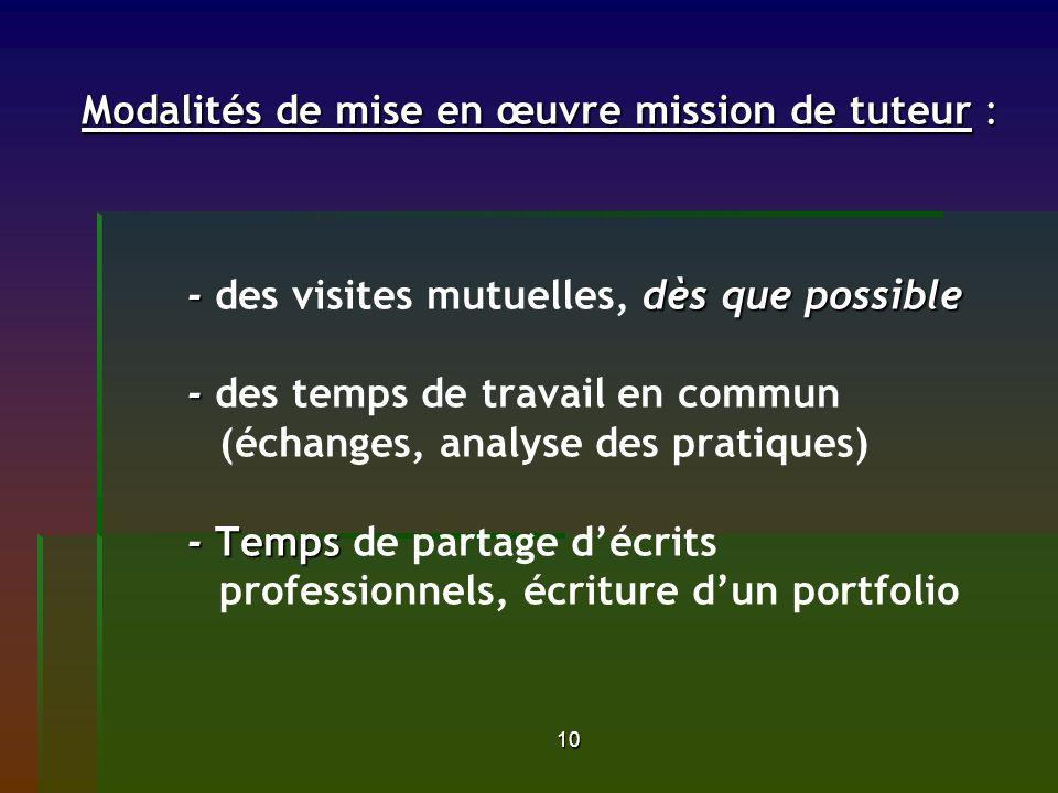 10 Modalités de mise en œuvre mission de tuteur : - dès que possible - - Temps Modalités de mise en œuvre mission de tuteur : - des visites mutuelles, dès que possible - des temps de travail en commun (échanges, analyse des pratiques) - Temps de partage décrits professionnels, écriture dun portfolio