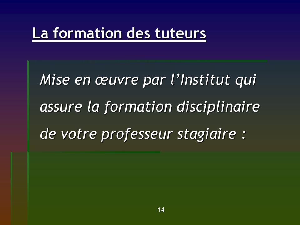 14 La formation des tuteurs La formation des tuteurs Mise en œuvre par lInstitut qui assure la formation disciplinaire de votre professeur stagiaire :