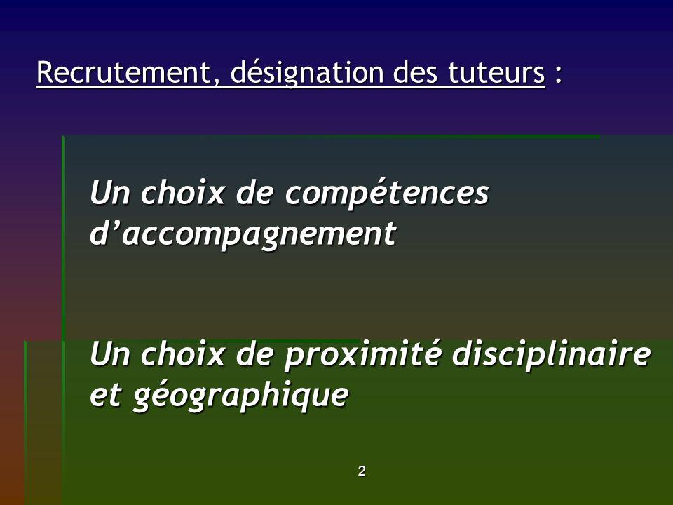 2 Recrutement, désignation des tuteurs : Un choix de compétences daccompagnement Un choix de proximité disciplinaire et géographique
