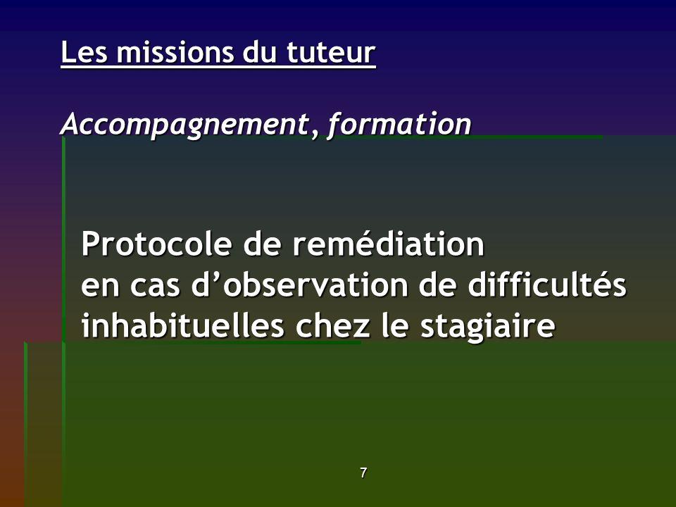 7 Les missions du tuteur Accompagnement, formation Protocole de remédiation en cas dobservation de difficultés inhabituelles chez le stagiaire Les mis