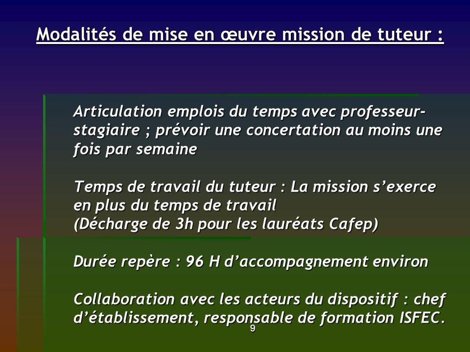 9 Modalités de mise en œuvre mission de tuteur : Articulation emplois du temps avec professeur- stagiaire ; prévoir une concertation au moins une fois