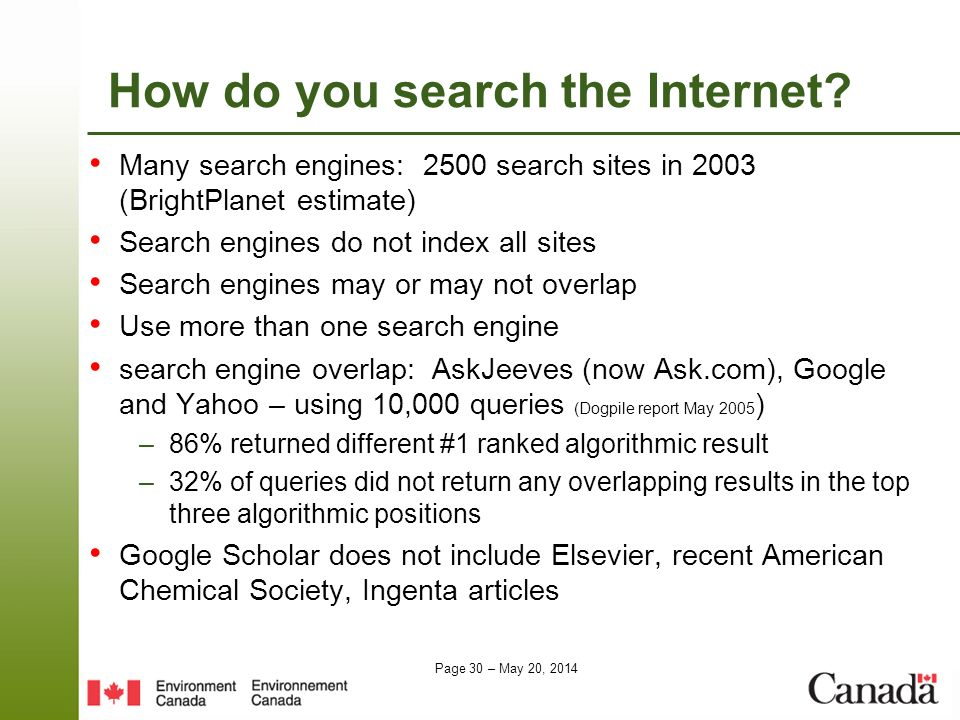 Page 30 – May 20, 2014 How do you search the Internet? Many search engines: 2500 search sites in 2003 (BrightPlanet estimate) Search engines do not in
