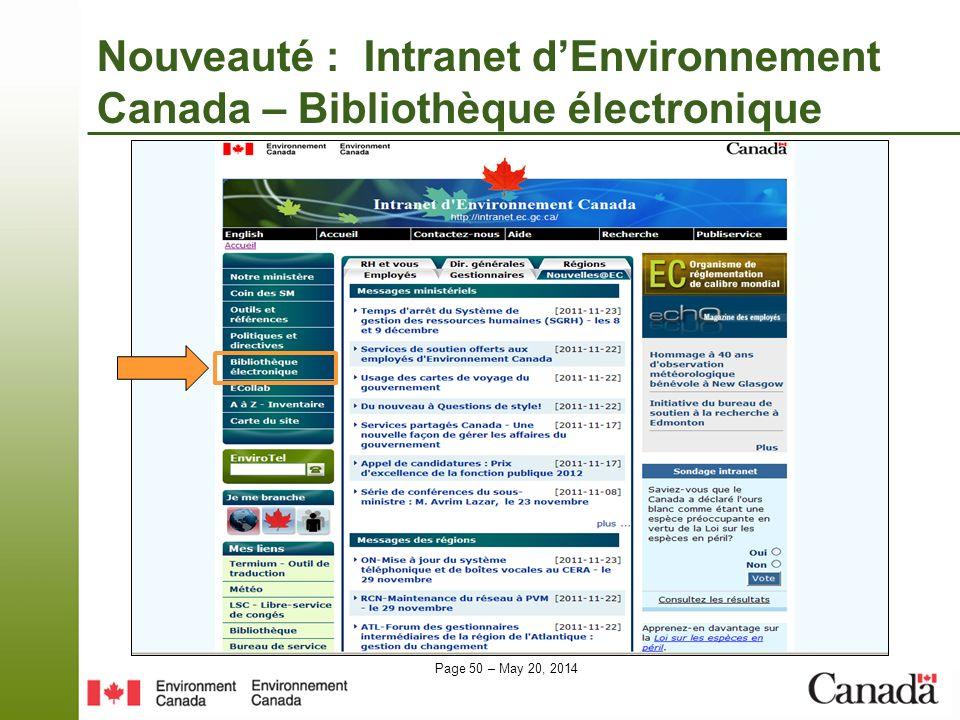 Page 50 – May 20, 2014 Nouveauté : Intranet dEnvironnement Canada – Bibliothèque électronique