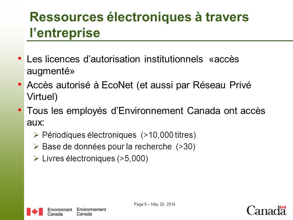 Page 9 – May 20, 2014 Ressources électroniques à travers lentreprise Les licences dautorisation institutionnels «accès augmenté» Accès autorisé à EcoN