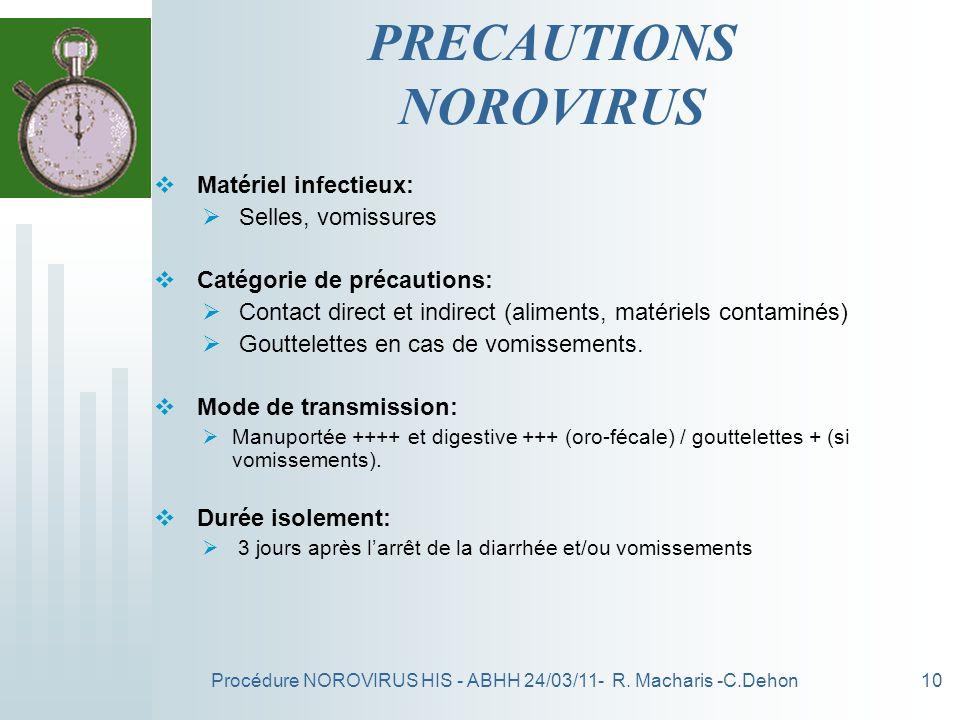 Procédure NOROVIRUS HIS - ABHH 24/03/11- R. Macharis -C.Dehon10 PRECAUTIONS NOROVIRUS Matériel infectieux: Selles, vomissures Catégorie de précautions