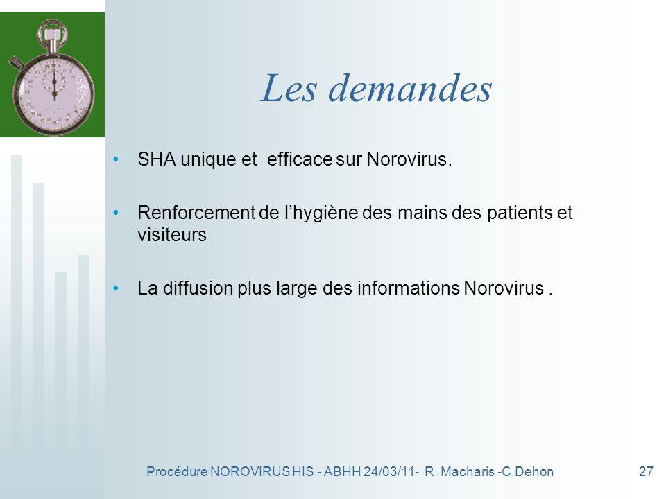 Procédure NOROVIRUS HIS - ABHH 24/03/11- R. Macharis -C.Dehon27 Les demandes SHA unique et efficace sur Norovirus. Renforcement de lhygiène des mains