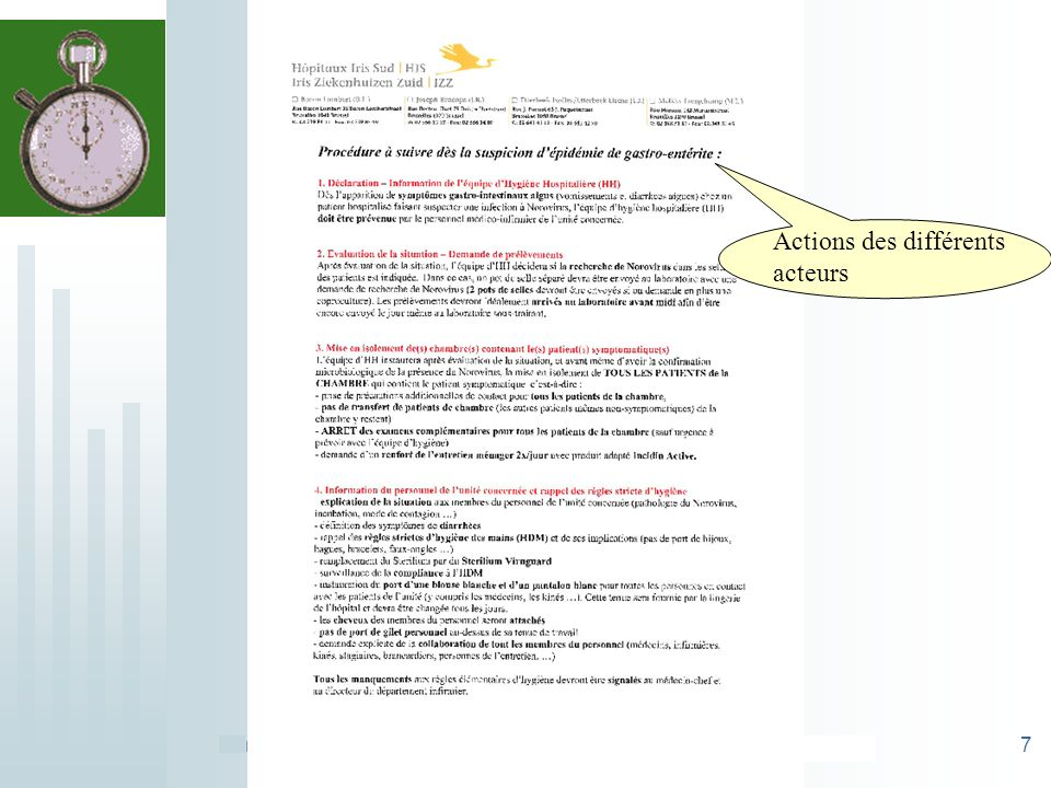 Procédure NOROVIRUS HIS - ABHH 24/03/11- R. Macharis -C.Dehon7 Actions des différents acteurs