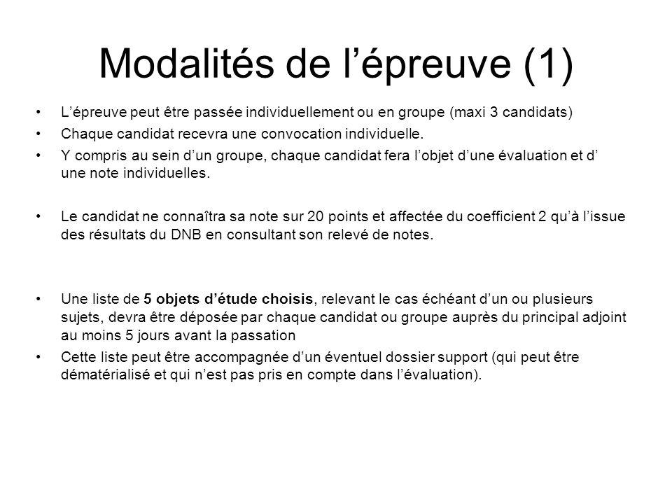 Modalités de lépreuve (1) Lépreuve peut être passée individuellement ou en groupe (maxi 3 candidats) Chaque candidat recevra une convocation individuelle.