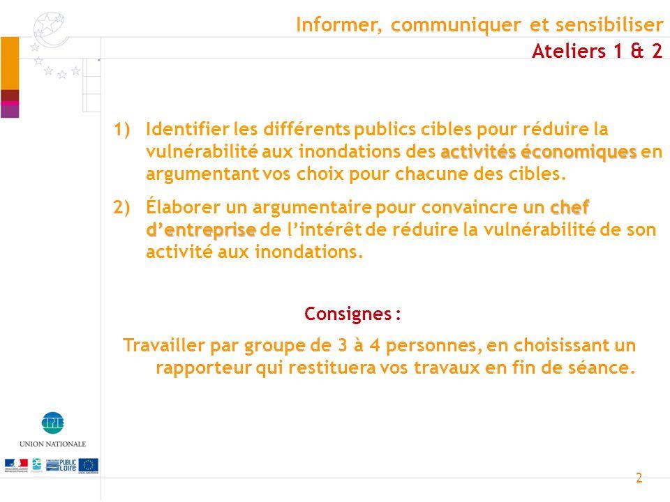 2 Ateliers 1 & 2 activités économiques 1)Identifier les différents publics cibles pour réduire la vulnérabilité aux inondations des activités économiq