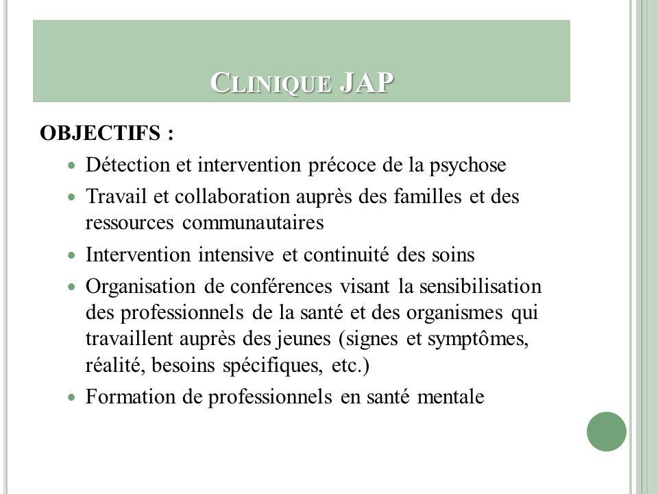 C LINIQUE JAP OBJECTIFS : Détection et intervention précoce de la psychose Travail et collaboration auprès des familles et des ressources communautair