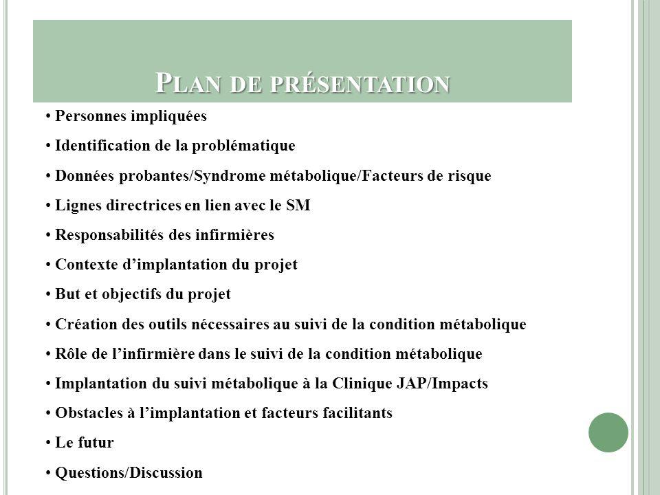 P ERSONNES IMPLIQUÉES Dominique Boudreau, M.Sc.Inf - CHUM/Clinique JAP Nathalie Desjardins, Inf.B.Sc.- CHUM/Clinique JAP Caroline Larue, Inf.