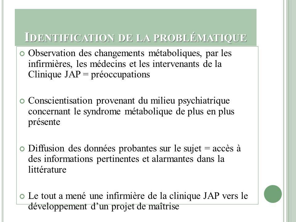 I DENTIFICATION DE LA PROBLÉMATIQUE Observation des changements métaboliques, par les infirmières, les médecins et les intervenants de la Clinique JAP