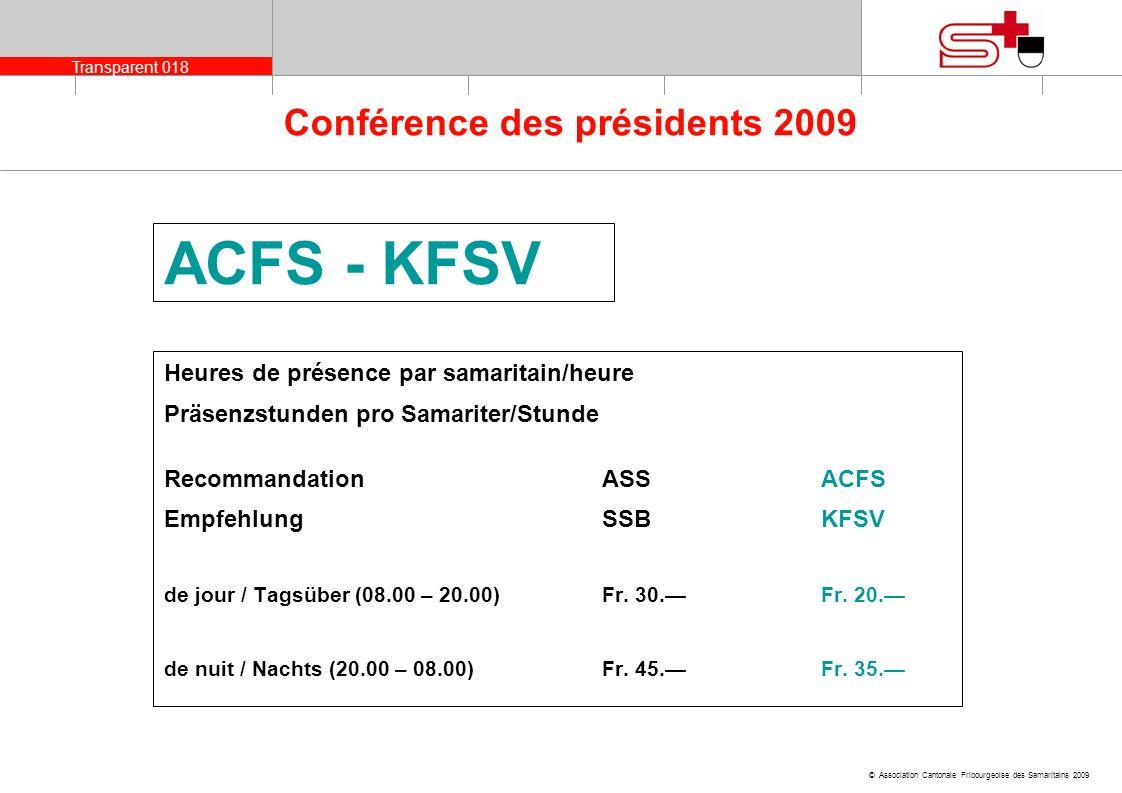 Transparent 018 © Association Cantonale Fribourgeoise des Samaritains 2009 Conférence des présidents 2009 ACFS - KFSV Heures de présence par samaritai