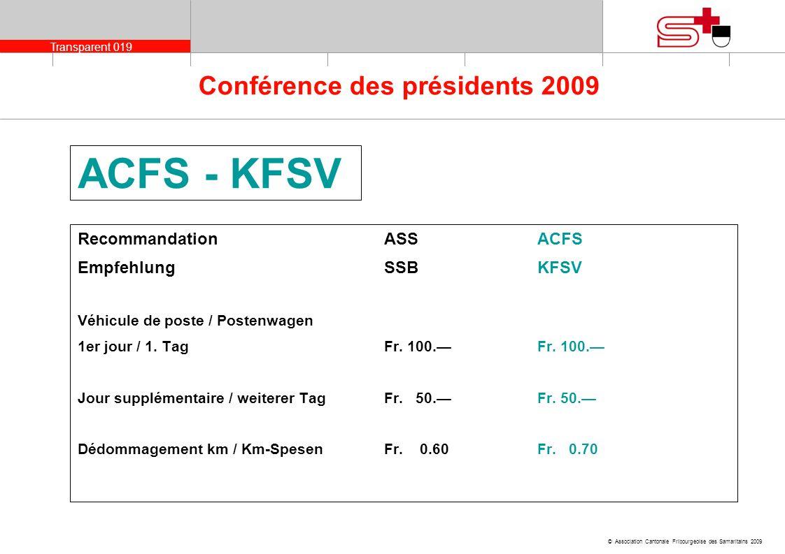 Transparent 019 © Association Cantonale Fribourgeoise des Samaritains 2009 Conférence des présidents 2009 ACFS - KFSV RecommandationASS ACFS Empfehlun