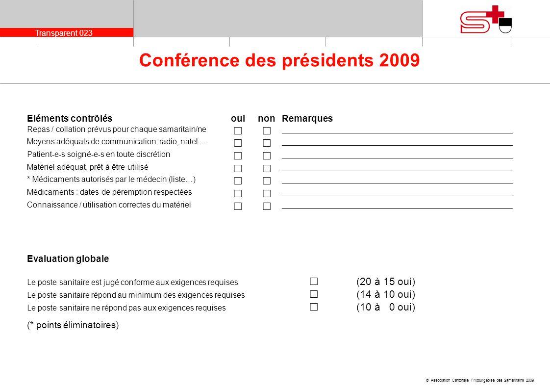 Transparent 024 © Association Cantonale Fribourgeoise des Samaritains 2009 Conférence des présidents 2009 Objectifs de développement envisagés et/ou moyens damélioration à mettre en place _____________________________________________________________________________________________________________ Remarques de linstructeurRemarques du responsable du poste sanitaire ou dun/e samaritain présent au poste sanitaire _____________________________________________________ Signature de linstructeurA pris connaissance de lévaluation Signature du responsable du poste sanitaire ou dun samaritain présent au poste sanitaire
