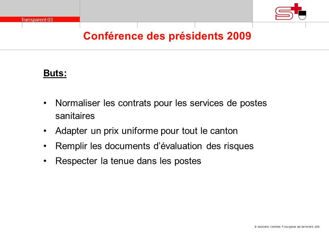 Transparent 03 © Association Cantonale Fribourgeoise des Samaritains 2009 Conférence des présidents 2009 Buts: Normaliser les contrats pour les servic